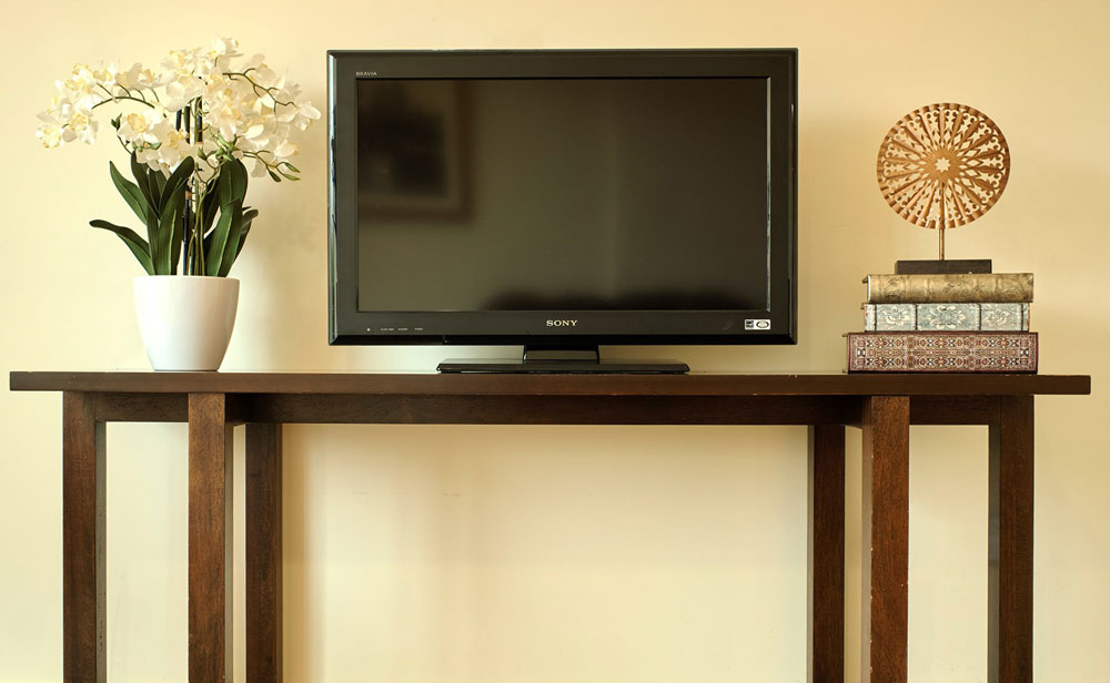 Lynn Valley Care Centre TV on stand in our facilities